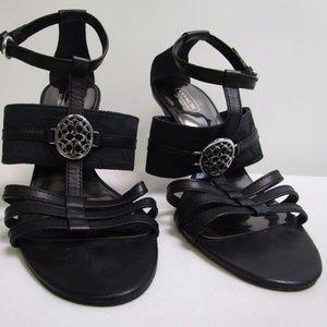 Coach Hera Signature Black Strappy Heeled Sandals
